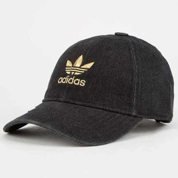110720015b797 Adidas Dad cap hat gold embroidery NEW distressed